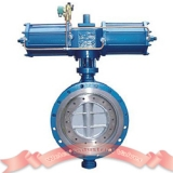 Double acting pneumatic triple offset butterfly valve